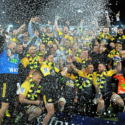 The Hurricanes celebrate winning the Super Rugby final match between the Hurricanes and Lions at Westpac Stadium, Wellington, New Zealand on Saturday, 6 August 2016. Photo: Dave Lintott / lintottphoto.co.nz