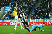 Joelinton (#9) of Newcastle United wheels away to celebrate but his second effort is ruled out for offside during the The FA Cup match between Newcastle United and Oxford United at St. James's Park, Newcastle, England on 25 January 2020.