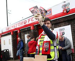 Programme seller at Brentford - Photo mandatory by-line: Robbie Stephenson/JMP - Mobile: 07966 386802 - 08/05/2015 - SPORT - Football - Brentford - Griffin Park - Brentford v Middlesbrough - Sky Bet Championship