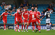 Chesterfield player Jay O'Shea celebrates his goal during the Sky Bet League 1 match between Millwall and Chesterfield at The Den, London, England on 29 August 2015. Photo by Bennett Dean.