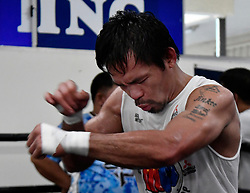 Oct 25, 2016.HOLLYWOOD CA. Manny Pacquiao does his final workout at the wild card gym  for his upcoming fight with Jessy Vargas Tuesday. The two will fight November 5th at the Thomas & Mac arena in Las Vegas. .Photo by Gene BlevinsLA DailyNewsZumaPress (Credit Image: © Gene Blevins via ZUMA Wire)