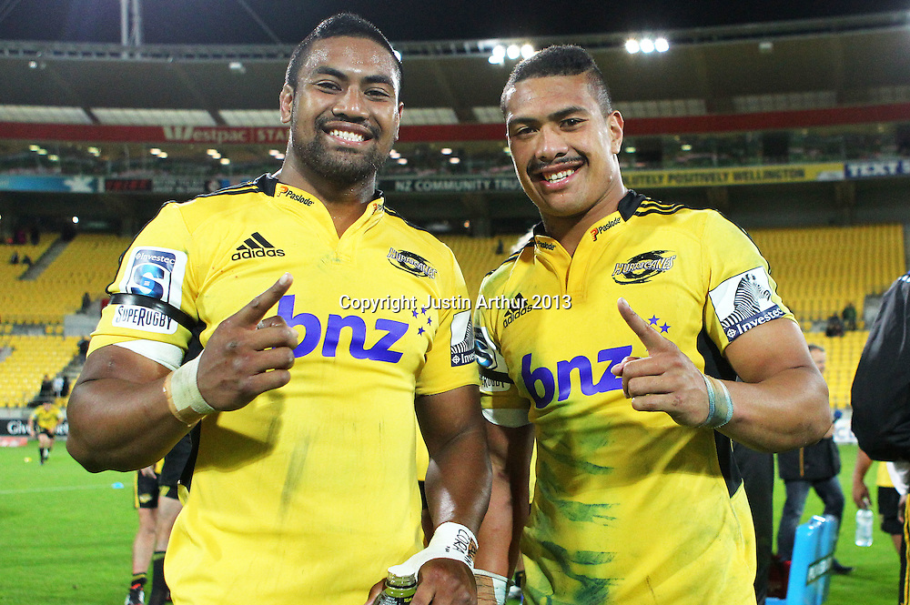 Brothers Julian Savea and Ardie Savea pose for a photo during the 2013 Super Rugby season - Hurricanes v Waratahs, Westpac Stadium, Wellington, New Zealand on Saturday 6 April 2013. Photo: Justin Arthur / photosport.co.nz