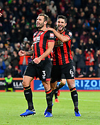 Goal - Steve Cook (3) of AFC Bournemouth celebrates scoring a goal to make the score 2-1 during the EFL Cup 4th round match between Bournemouth and Norwich City at the Vitality Stadium, Bournemouth, England on 30 October 2018.