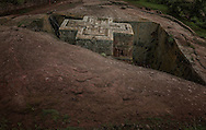 Bet Giyorgis (St. George's Church) was hand-hewn out of solid volcanic rock over eight centuries ago.  Lalibela, Ethiopia.