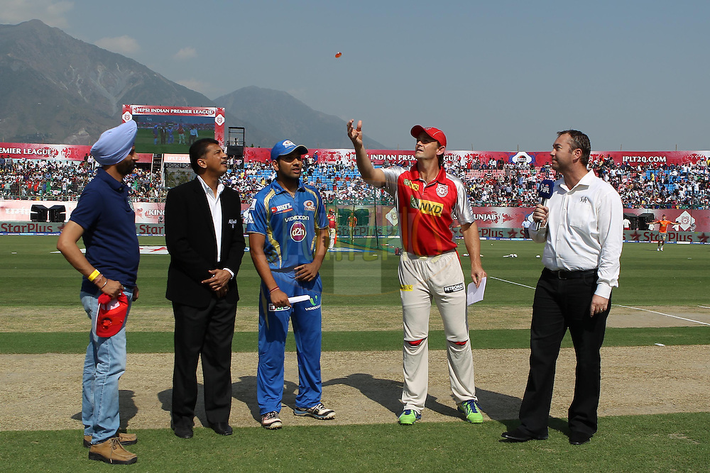 Rohit Sharma and Adam Gilchrist at the toss during match 69 of the Pepsi Indian Premier League between The Kings XI Punjab and the Mumbai Indians held at the HPCA Stadium in Dharamsala, Himachal Pradesh, India on the on the 18th May 2013..Photo by Ron Gaunt-IPL-SPORTZPICS ..Use of this image is subject to the terms and conditions as outlined by the BCCI. These terms can be found by following this link:..http://www.sportzpics.co.za/image/I0000SoRagM2cIEc