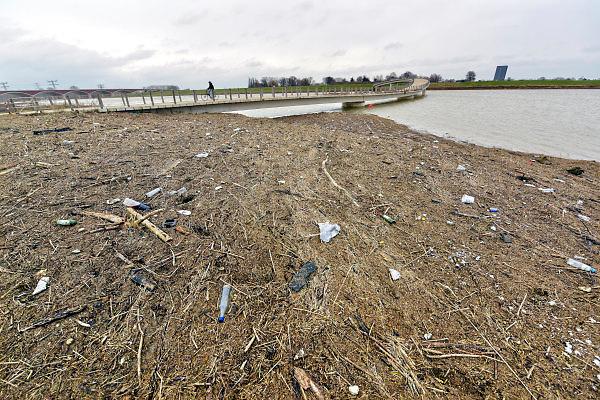 Nederland, Nijmegen, 15-1-2018Plastic en ander afval wat is blijven liggen op de landtong in de Nevengeul na het hoogwater. Vooral bij de Zaligenbrug is veel blijven liggen.Foto: Flip Franssen