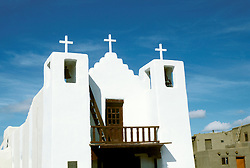New Mexico: Taos Indian Pueblo Church,  Photo: nmindi101.Photo copyright Lee Foster, www.fostertravel.com, 510/549-2202, lee@fostertravel.com