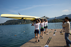 Iztok Cop, Jüri Jaanson, Vaclav Chalupa and Davor Mizerit during rowing at Slovenian National Championship and farewell of Iztok Cop, on September 22, 2012 at Lake Bled, Ljubljana Slovenia. (Photo By Matic Klansek Velej / Sportida)