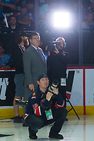 REGINA, SK - MAY 23: Sportsnet broadcaster Rob Faulds stands on the ice at the start of the game at the Brandt Centre on May 23, 2018 in Regina, Canada. (Photo by Marissa Baecker/CHL Images)