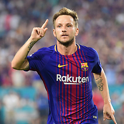 Ivan Rakitic of Barcelona celebrates putting his side 2-0 ahead during the International Champions Cup match between Barcelona and Real Madrid at Hard Rock Stadium on July 29, 2017 in Miami Gardens, Florida. (Photo by Dave Winter/Icon Sport)