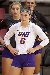 18 November 2016:  Lexi Astor during an NCAA women's volleyball match between the Northern Iowa Panthers and the Illinois State Redbirds at Redbird Arena in Normal IL (Photo by Alan Look)