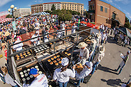 Free pancake breakfast at Cheyenne Frontier Days in downtown Cheyenne, Wyoming.