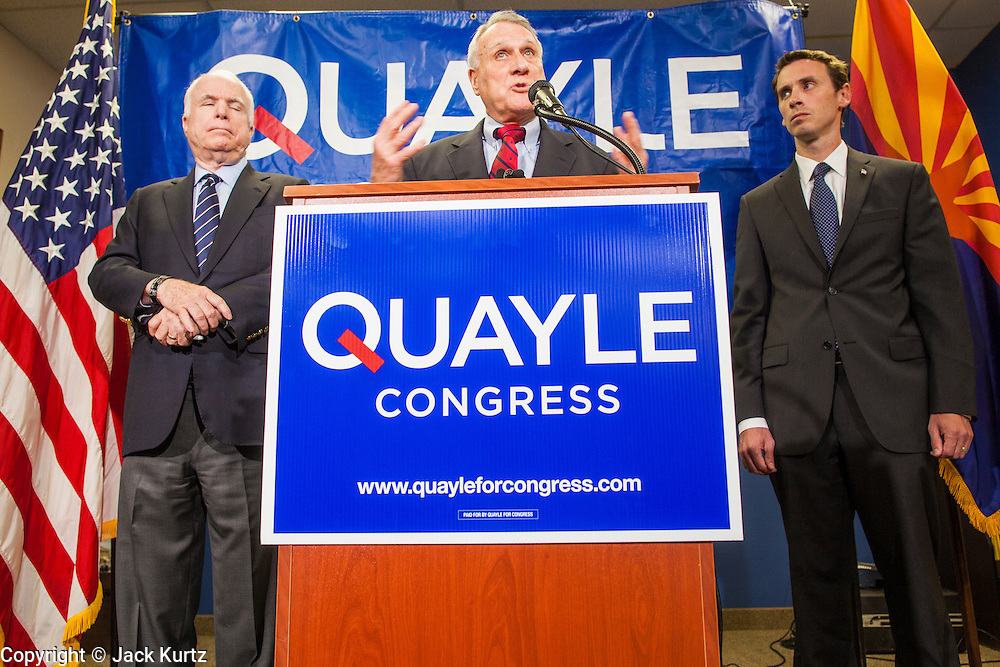 15 AUGUST 2012 - PHOENIX, AZ:  Senators JOHN MCCAIN and JON KYL announce their endorsement of Rep BEN QUAYLE Wednesday. Arizona's Republican US Senators, John McCain and Jon Kyl, announced their endorsement of Congressman Ben Quayle (R-AZ) during a press conference in Phoenix Wednesday. They decried the campaign being run by Quayle's opponent, Congressman David Schweikert (R-AZ). Both Quayle and Schweikert are freshman Congressmen from neighboring districts. They were thrown into the same district during the redistricting process and are now waging a bitter primary fight against each other.   PHOTO BY JACK KURTZ