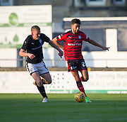 Dundee&rsquo;s Faissal El Bakhtaoui races past Raith&rsquo;s Scott Robertson - Raith Rovers v Dundee, Betfred Cup at Starks Park, Kirkcaldy, Photo: David Young<br /> <br />  - &copy; David Young - www.davidyoungphoto.co.uk - email: davidyoungphoto@gmail.com