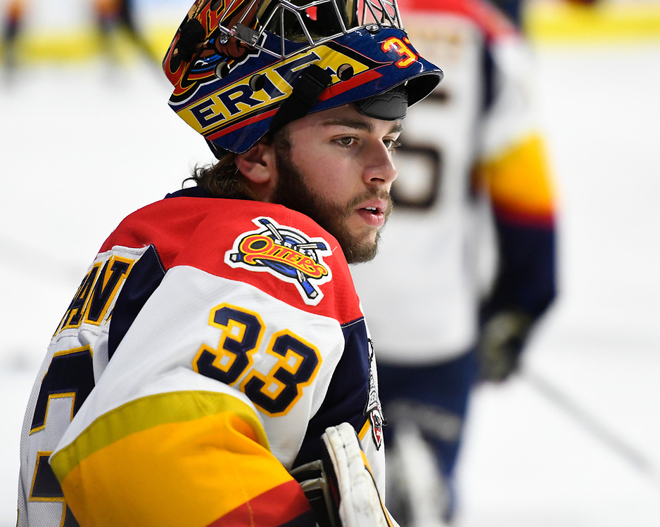 Troy Timpano of the Erie Otters in Game 2 of the 2017 MasterCard Memorial Cup against the Seattle Thunderbirds on Saturday May 20, 2017 at the WFCU Centre in Windsor, ON. Photo by Aaron Bell/CHL Images
