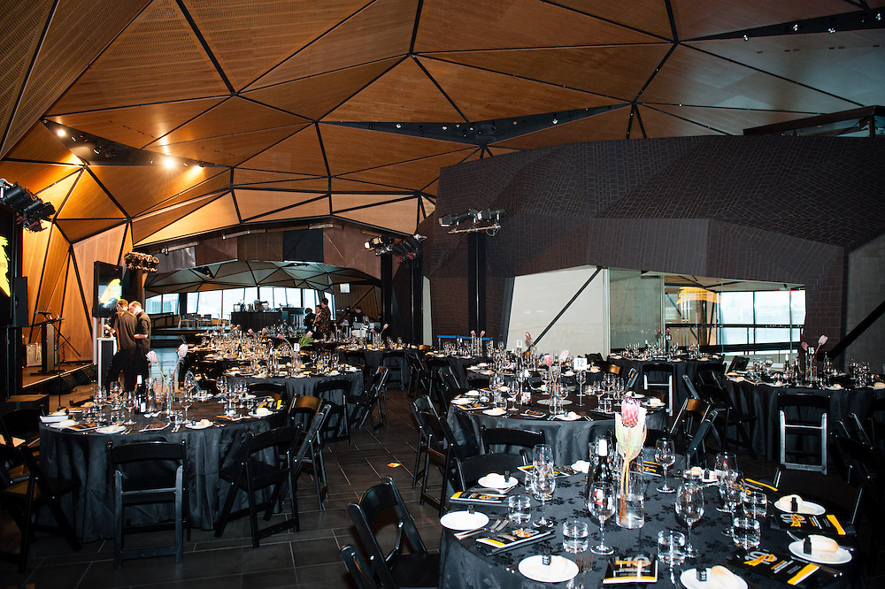 Overview of the international terminal set up for the awards dinner.
