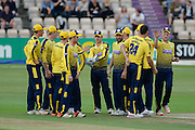 Hampshire celebrate the wicket of Adam Hose during the NatWest T20 Blast South Group match between Hampshire County Cricket Club and Somerset County Cricket Club at the Ageas Bowl, Southampton, United Kingdom on 29 July 2016. Photo by David Vokes.