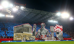 04.11.2015, Karaiskakis Stadium, Piraeus, GRE, UEFA CL, Olympiacos vs Dinamo Zagreb, Gruppe F, im Bild Übersicht stadion, Gemälde im stadion, Choreographie der Olympiacos Fans // during UEFA Champions League group F match between Olympiacos and Dinamo Zagreb at the Karaiskakis Stadium in Piraeus, Greece on 2015/11/04. EXPA Pictures © 2015, PhotoCredit: EXPA/ Pixsell/ Slavko Midzor<br /> <br /> *****ATTENTION - for AUT, SLO, SUI, SWE, ITA, FRA only*****