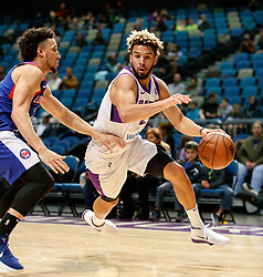 November 19, 2017 - Reno, Nevada, U.S - Reno Bighorns Guard CODY DEMPS (2) drives against Long Island Nets Guard JEREMY SENGLIN (30) during the NBA G-League Basketball game between the Reno Bighorns and the Long Island Nets at the Reno Events Center in Reno, Nevada. (Credit Image: © Jeff Mulvihill via ZUMA Wire)