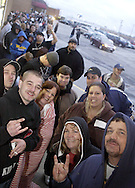 The folks first in line on the east side entrance to Hara Arena, Tuesday, January 29, 2008.