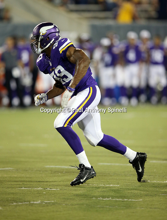 Minnesota Vikings defensive end Danielle Hunter (99) chases the action during the 2015 NFL Pro Football Hall of Fame preseason football game against the Pittsburgh Steelers on Sunday, Aug. 9, 2015 in Canton, Ohio. The Vikings won the game 14-3. (©Paul Anthony Spinelli)