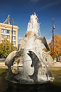 Idaho, Pocatello.  Simplot fountain in downtown Pocatello.