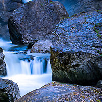 Close up of part of a waterfall in Austria, slow shutter speed.