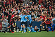 October 08, 2016: Brawl between the teams at Round 1 of the 2016 Hyundai A-League match, between Western Sydney Wanderers and Sydney FC, played at ANZ Stadium in Sydney. Sydney FC won the game 4-0.