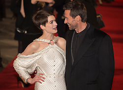 © licensed to London News Pictures. London, UK 05/12/2012. Anne Hathaway and Hugh Jackman attending World Premiere of Les Miserables in Leicester Square, London. Photo credit: Tolga Akmen/LNP