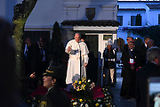 BOGOTA, COLOMBIA 06 SEPT 2017: A warm welcome for Pope Francis at the Nunciature in Bogota, Colombia on Sept. 6, 2017.