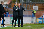 John Coleman Manager of Accrington speaks to Fourth Official James Wilson during the EFL Sky Bet League 1 match between Rochdale and Accrington Stanley at the Crown Oil Arena, Rochdale, England on 12 October 2019.