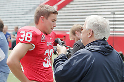 01 August 2017:   Zach Breen interviewed by Steve Robinson during 2017 Illinois State Redbirds Football Media Day at Hancock Stadium in Normal IL (Photo by Alan Look)