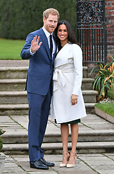 REVIEW OF THE DECADE - ROYAL File photo dated 27/11/17 of Prince Harry and Meghan Markle in the Sunken Garden at Kensington Palace, London, after the announcement of their engagement.