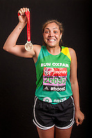 Miquita Oliver, TV and radio presenter. Portraits of celebrities shortly after they have crossed the line to finish the Virgin Money London Marathon 2014 at the finish line on Sunday 13 April 2014<br /> Photo: Dillon Bryden/Virgin Money London Marathon<br /> media@london-marathon.co.uk