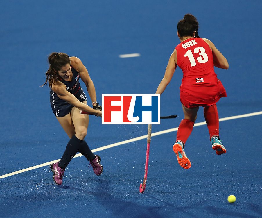 RIO DE JANEIRO, BRAZIL - AUGUST 13:  Michelle Vittese of the USA scores the first goal during the Women's group B hockey match between Great Britain and the USA on Day 8 of the Rio 2016 Olympic Games at the Olympic Hockey Centre on August 13, 2016 in Rio de Janeiro, Brazil.  (Photo by David Rogers/Getty Images)