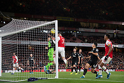 LONDON, ENGLAND - Thursday, December 5, 2019: Arsenal's Sead Kolašinac gets a touch on the ball as Alexandre Lacazette scores the first equalising goal during the FA Premier League match between Arsenal FC and Brighton & Hove Albion FC at the Emirates Stadium. (Pic by Vegard Grott/Propaganda)