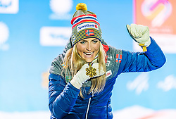 23.02.2019, Medal Plaza, Seefeld, AUT, FIS Weltmeisterschaften Ski Nordisch, Seefeld 2019, Skiathlon, Damen, 15km, Siegerehrung, im Bild Weltmeisterin und Goldmedaillengewinnerin Therese Johaug (NOR) // World champion and Gold medalist Therese Johaug of Norway during the winner Ceremony for the ladie's 15km Skiathlon competition of FIS Nordic Ski World Championships 2019 at the Medal Plaza in Seefeld, Austria on 2019/02/23. EXPA Pictures © 2019, PhotoCredit: EXPA/ Stefan Adelsberger