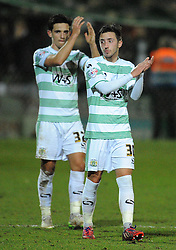 Yeovil Town's Josh Sheenan and Yeovil Town's Liam Sheppard - Photo mandatory by-line: Harry Trump/JMP - Mobile: 07966 386802 - 10/03/15 - SPORT - Football - Sky Bet League One - Yeovil Town v Bristol City - Huish Park, Yeovil, England.