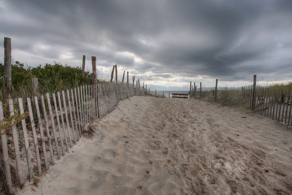 A photo of the beach before a storm rolls in on Long Beach Island, New Jersey