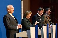 12 NOV 2003, BERLIN/GERMANY:<br /> Edmund Stoiber, CSU, Ministerpraesidnet Bayern, Angela Merkel, CDU Bundesvorsitzende, Guido Westerwelle, FDP Bundesvorsitzender, und Claus Zemke, CDU Pressesprecher, (v.L.n.R.), waehrend einer Pressekonferenz zu dem vorangegangenen  Spitzentrfffen von Politiker der CDU/CSU und der FDP, axica Kongress- und Tagungszentrum<br /> IMAGE: 20031112-01-015<br /> KEYWORDS: Opposition, Spitzengespraech