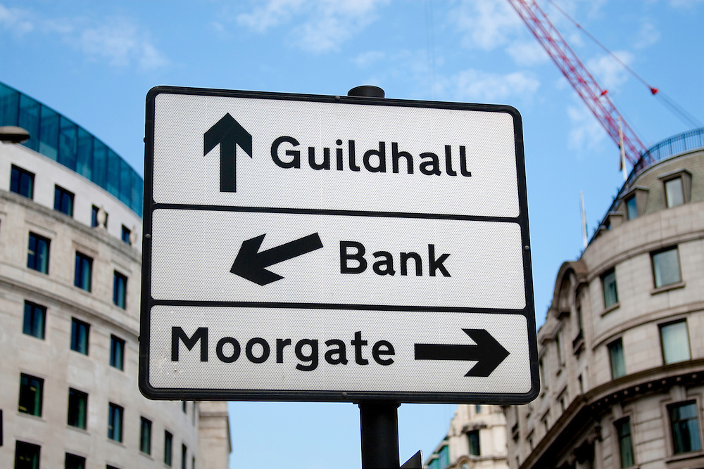 Street sign in City of London, EC2