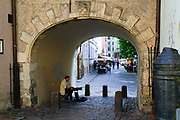 busker at the Swedish gate, Old Town Riga, Latvia,
