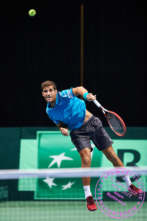 Martin Klizan of Slovakia competes during Davis Cup Tie World Group Play-off Poland v Slovakia at Gdynia Arena Hall in Gdynia, Poland.<br /> <br /> Poland, Gdynia, September 20, 2015<br /> <br /> Picture also available in RAW (NEF) or TIFF format on special request.<br /> <br /> For editorial use only. Any commercial or promotional use requires permission.<br /> <br /> Adam Nurkiewicz declares that he has no rights to the image of people at the photographs of his authorship.<br /> <br /> Mandatory credit:<br /> Photo by &copy; Adam Nurkiewicz / Mediasport