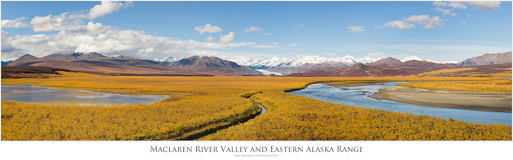 Composite panorama of Maclaren Glacier, Maclaren River Valley and the eastern Alaska Range mountains in late fall in Interior Alaska. Afternoon.