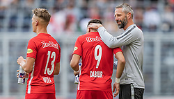 26.05.2019, Red Bull Arena, Salzburg, AUT, 1. FBL, FC Red Bull Salzburg vs SKN St. Poelten, Meistergruppe, 32. Spieltag, im Bild Hannes Wolf (FC Red Bull Salzburg), Munas Dabbur (FC Red Bull Salzburg), Trainer Marco Rose (FC Red Bull Salzburg) // during the tipico Bundesliga Championsgroup 32th round match between FC Red Bull Salzburg and SKN St. Poelten at the Red Bull Arena in Salzburg, Austria on 2019/05/26. EXPA Pictures © 2019, PhotoCredit: EXPA/ JFK