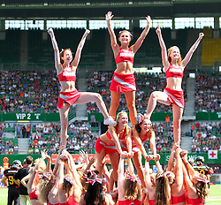 16.07.2011, Ernst Happel Stadion, Wien, AUT, American Football WM 2011, Germany (GER) vs France (FRA), im Bild stunt from the cheerleader // during the American Football World Championship 2011 game, Germany vs France, at Ernst Happel Stadion, Wien, 2011-07-16, EXPA Pictures © 2011, PhotoCredit: EXPA/ T. Haumer