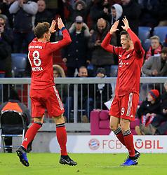 08.12.2018, 1.BL, FCB vs 1.FC Nuernberg, Allianz Arena Muenchen, Fussball, Sport, im Bild:..Leon Goretzka (FCB) und Robert Lewandowski (FCB) jubeln..DFL REGULATIONS PROHIBIT ANY USE OF PHOTOGRAPHS AS IMAGE SEQUENCES AND / OR QUASI VIDEO...Copyright: Philippe Ruiz..Tel: 089 745 82 22.Handy: 0177 29 39 408.e-Mail: philippe_ruiz@gmx.de. (Credit Image: © Philippe Ruiz/Xinhua via ZUMA Wire)