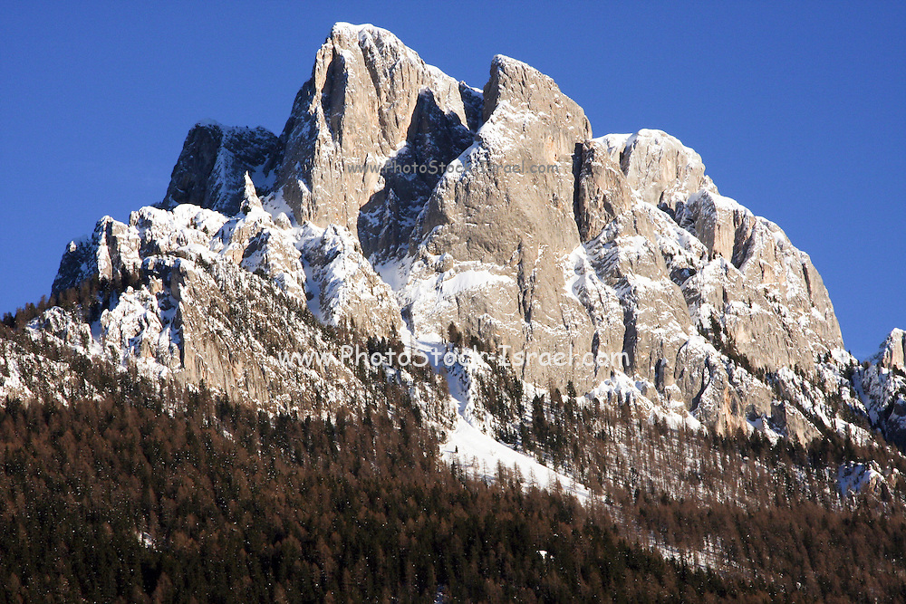 Italy, Italian Alps, The Dolomites snow covered mountain peak