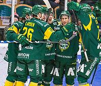 2020-01-15 | Umeå, Sweden:Björklöven (44) Olle Liss score final result to 5-3 in HockeyAllsvenskan during the game  between Björklöven and Södertälje at A3 Arena ( Photo by: Michael Lundström | Swe Press Photo )<br /> <br /> Keywords: Umeå, Hockey, HockeyAllsvenskan, A3 Arena, Björklöven, Södertälje, mlbs200115, happy happiness celebration celebrates