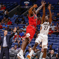 Oct 3, 2017; New Orleans, LA, USA; New Orleans Pelicans guard Jordan Crawford (27) shoots against the Chicago Bulls during the second half of a NBA preseason game at the Smoothie King Center. The Bulls defeated the Pelicans 113-109. Mandatory Credit: Derick E. Hingle-USA TODAY Sports